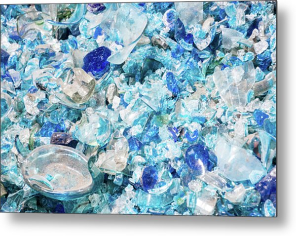 Broken Glass Blue Metal Print