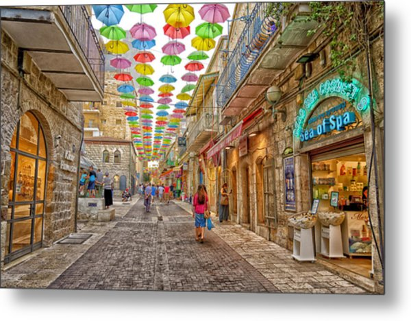 Brollies Over Jerusalem Metal Print