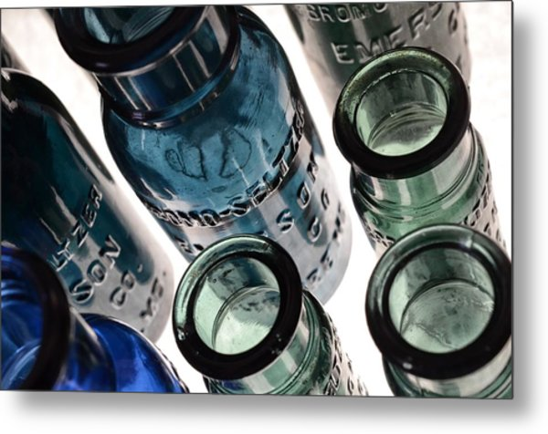 Bromo Seltzer Vintage Glass Bottles - Rare Green And Blue Metal Print