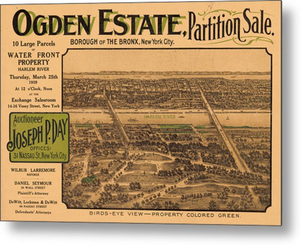 1909 Bronx New York Realtor Flyer Metal Print