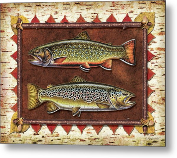 Brook And Brown Trout Lodge Metal Print
