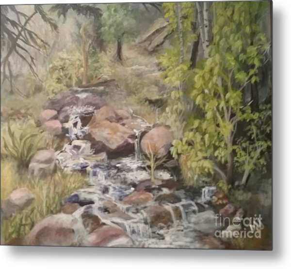 Metal Print featuring the painting Brook by Saundra Johnson