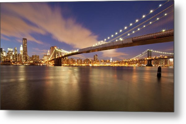 Brooklyn Bridge And Manhattan At Night Metal Print by J. Andruckow
