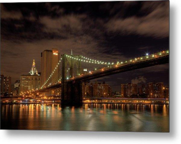 Brooklyn Bridge At Dusk Metal Print