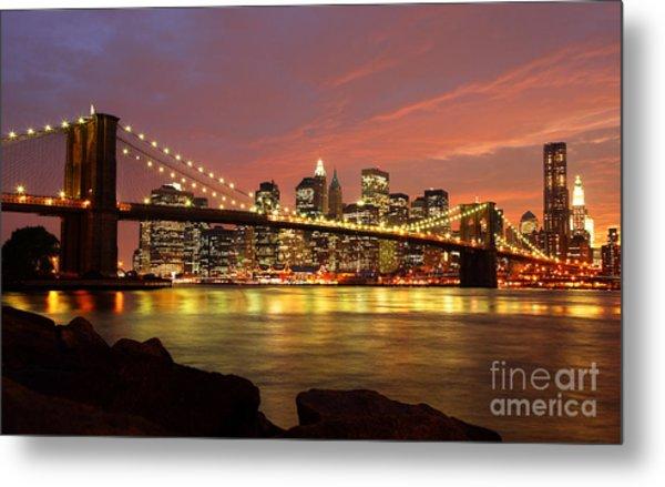 Brooklyn Bridge At Night Metal Print by Holger Ostwald