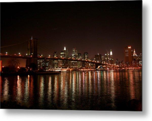 Brooklyn Bridge At Night Metal Print by Jason Hochman