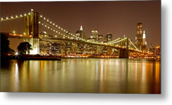 Brooklyn Bridge At Night Panorama 10 Metal Print