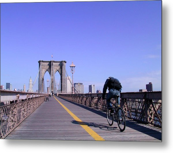 Brooklyn Bridge Bicyclist Metal Print