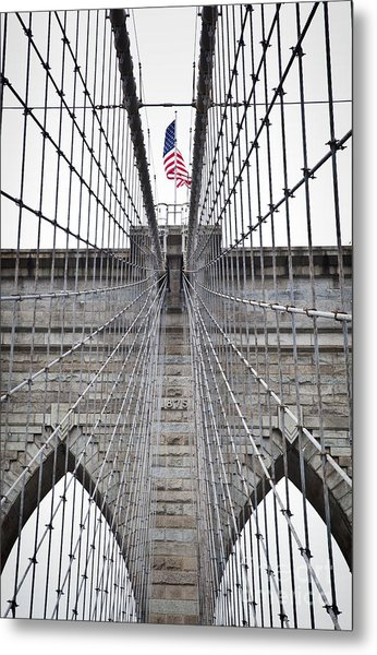 Metal Print featuring the photograph Brooklyn Bridge Flag by Peter Simmons
