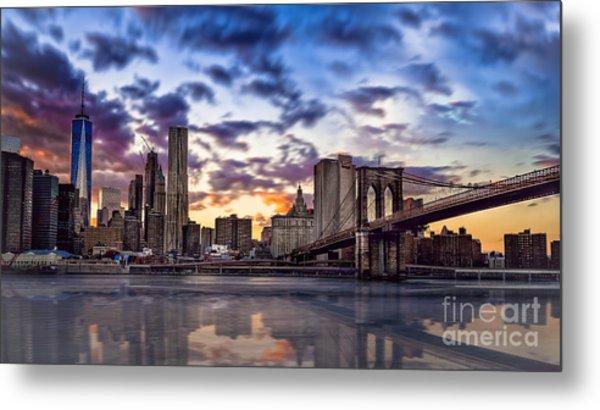 Brooklyn Bridge Manhattan Sunset Metal Print