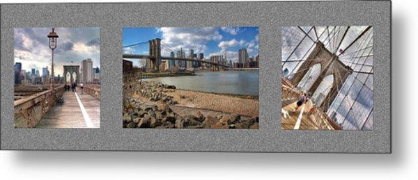 Brooklyn Bridge...triptych Metal Print by Arkadiy Bogatyryov