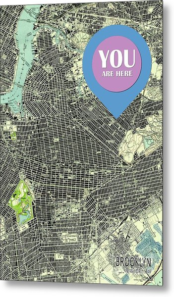 Brooklyn New York 1947 Old Map You Are Here Metal Print