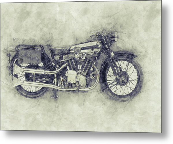 Brough Superior Ss100 - 1924 - Motorcycle Poster 1 - Automotive Art Metal Print
