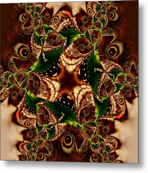 Brown Butterfly Collage Metal Print