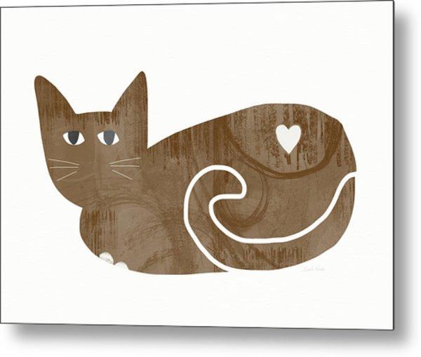 Brown Cat- Art By Linda Woods Metal Print