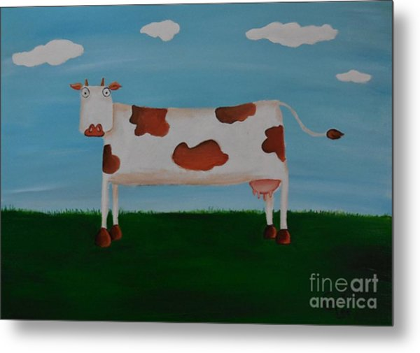 Brown Spotted Cow Metal Print