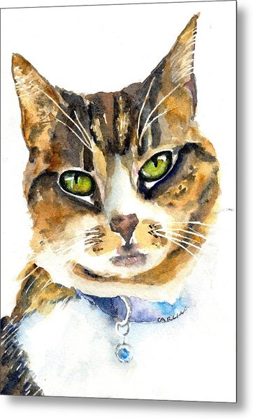 Brown Tabby Cat Watercolor Metal Print