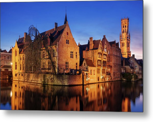 Metal Print featuring the photograph Bruges Architecture At Blue Hour by Barry O Carroll