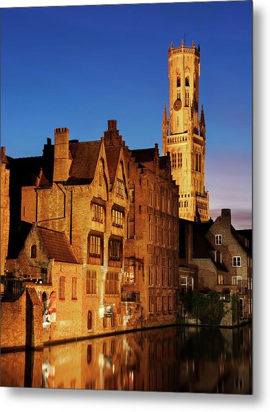 Metal Print featuring the photograph Bruges Belfry At Night by Barry O Carroll