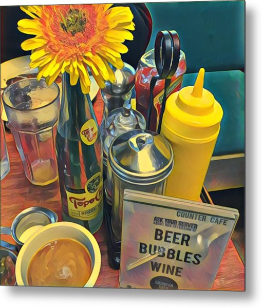 Brunch At Counter Cafe Metal Print