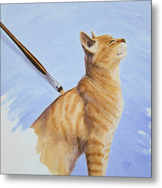 Brushing The Cat Metal Print