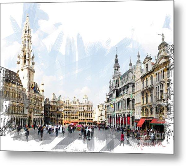 Brussels Grote Markt  Metal Print