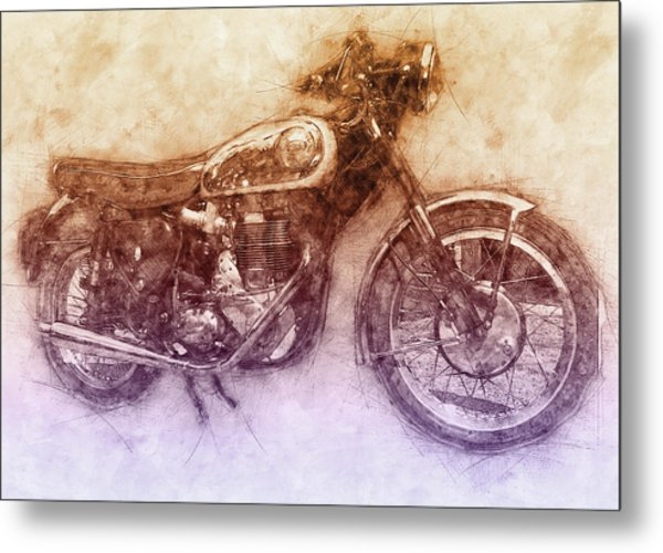 Bsa Gold Star 2 - 1938 - Motorcycle Poster - Automotive Art Metal Print