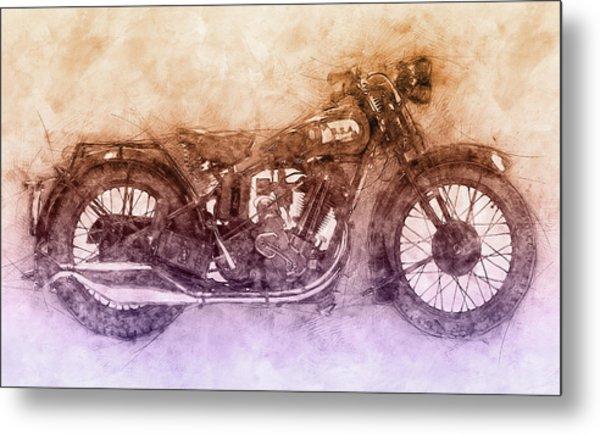 Bsa Sloper - 1927 - Vintage Motorcycle Poster 2 - Automotive Art Metal Print
