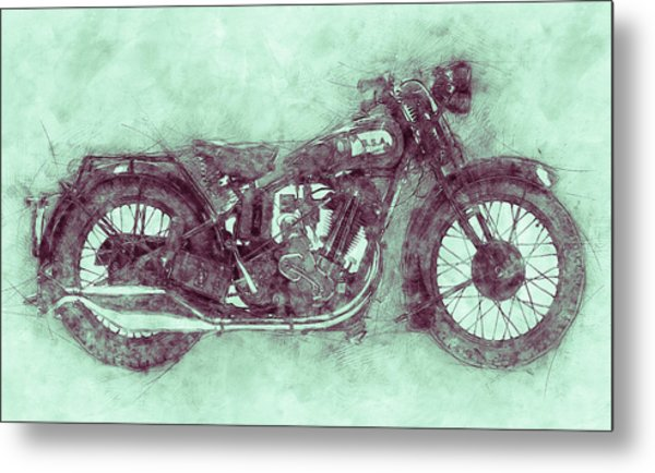 Bsa Sloper 3 - 1927 - Vintage Motorcycle Poster - Automotive Art Metal Print