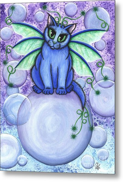 Bubble Fairy Cat Metal Print