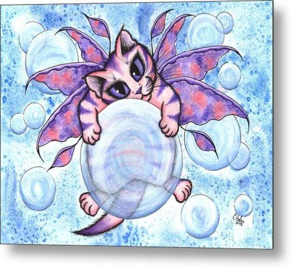 Bubble Fairy Kitten Metal Print