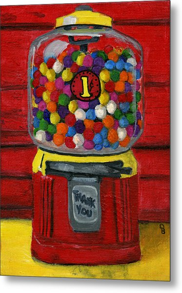Bubble Gum Bank Metal Print