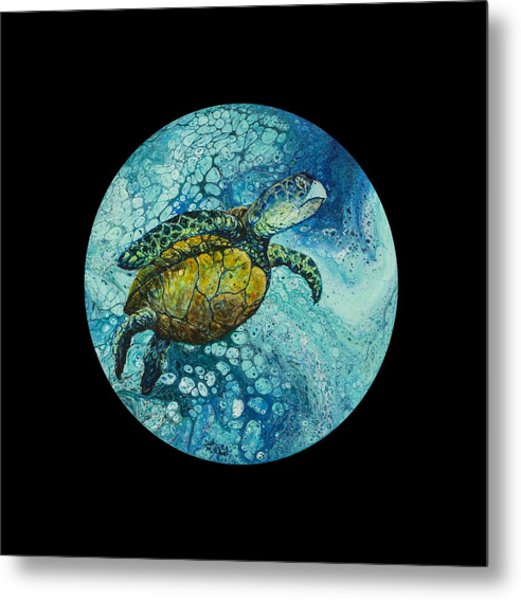 Metal Print featuring the painting Bubble Surfer On Black by Darice Machel McGuire