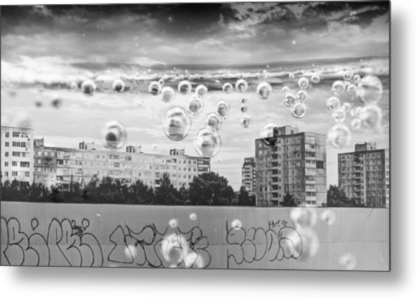 Bubbles And The City Metal Print