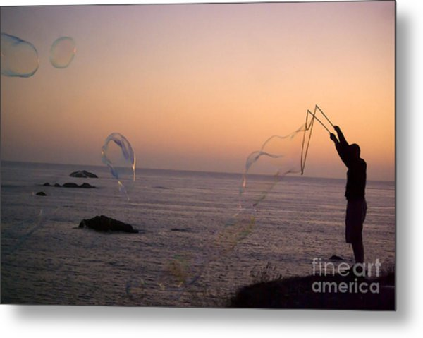 Bubbles On The Beach Metal Print
