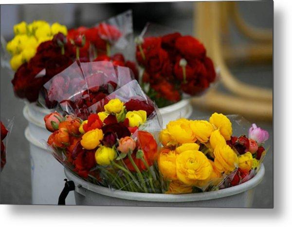 Bucket Of Flowers Metal Print by Joyce Sherwin