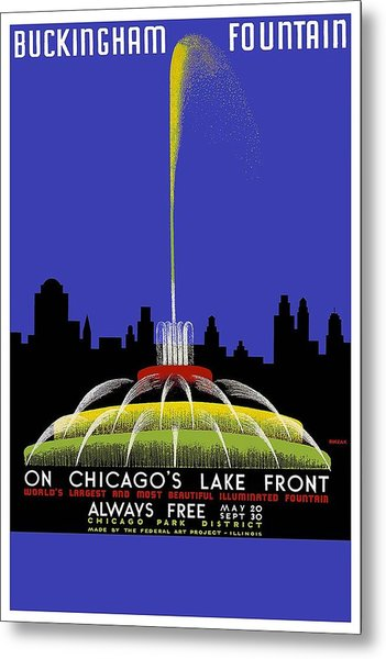 Buckingham Fountain Vintage Travel Poster Metal Print