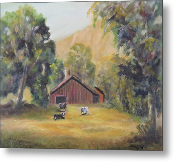 Metal Print featuring the painting Bucks County Pa Barn by Katalin Luczay