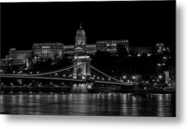 Buda Castle And Szechenyi Chain Bridge Over The Danube River Metal Print