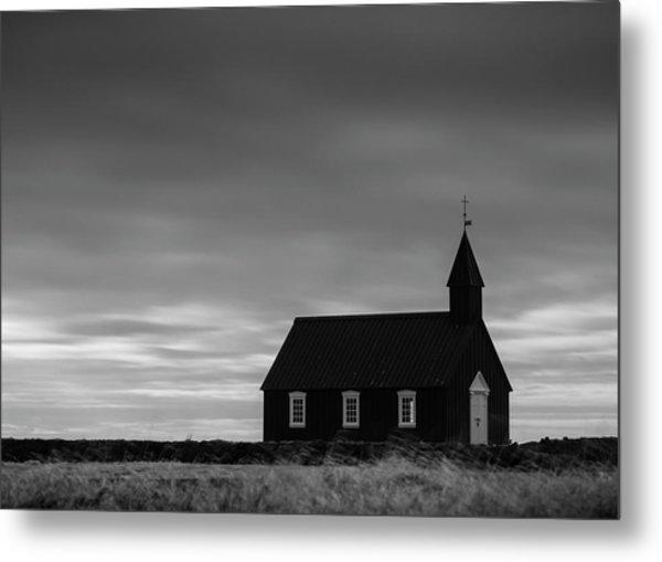Budakirkja, The Black Church In Iceland Metal Print