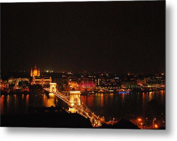 Budapest At Night Hungary Metal Print by Eva Ramanuskas