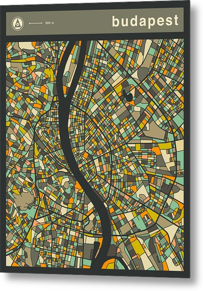 Budapest City Map Metal Print