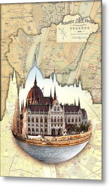 Budapest Globe Map Metal Print