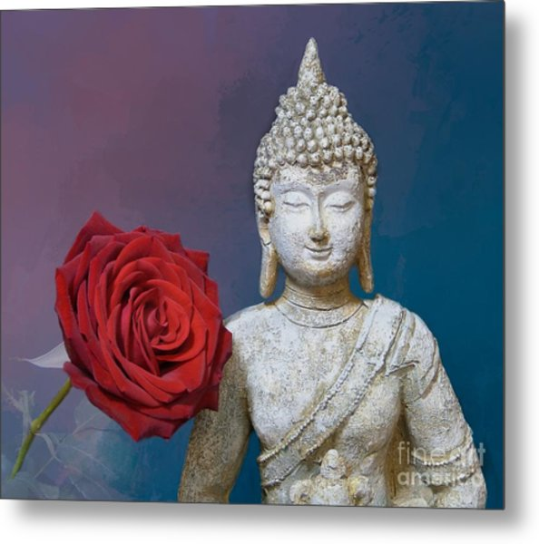 Buddha And Rose Metal Print