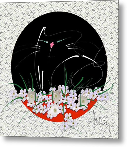 Metal Print featuring the mixed media Buddha Cat by Larry Talley