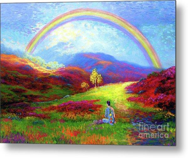 Buddha Chakra Rainbow Meditation Metal Print