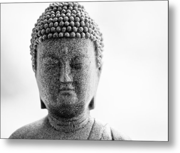Buddha In Black And White Metal Print by Edward Myers