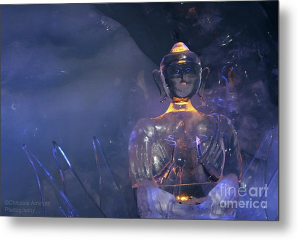 Buddha In Ice Metal Print