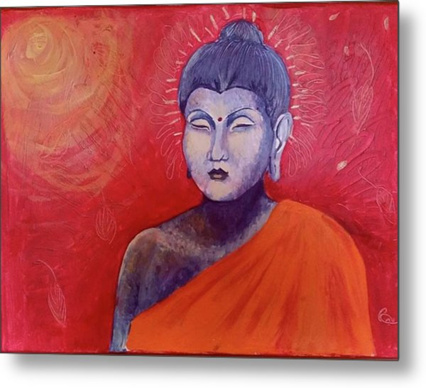 Buddha In Red Metal Print