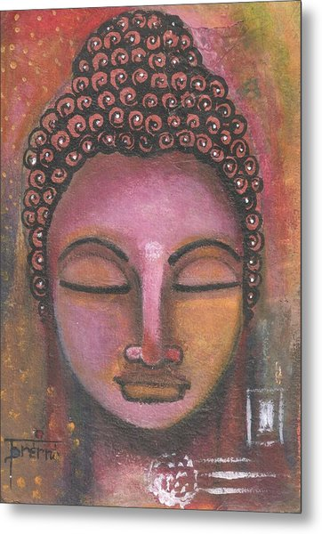 Buddha In Shades Of Purple Metal Print